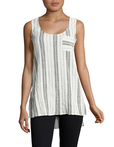 Two By Vince Camuto Crinkle Striped Tank-NATURAL-Large