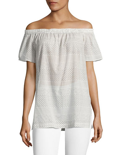 Two By Vince Camuto Printed Stripe Off-Shoulder Top-NATURAL-Large
