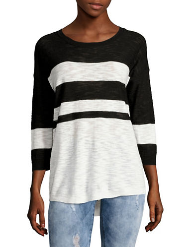 Two By Vince Camuto Drop-Shoulder Stripe Slub Top-BLACK MULTI-Large