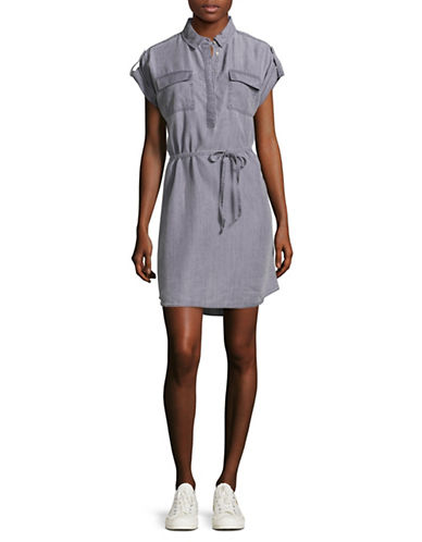 Two By Vince Camuto Short Roll-Tab Sleeve Utility Shirt Dress-GREY-Small
