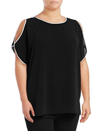 Vince Camuto Plus Plus Short Sleeve Cold-Shoulder Top-BLACK-3X