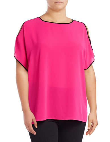Vince Camuto Plus Plus Short Sleeve Cold-Shoulder Top-PINK-2X