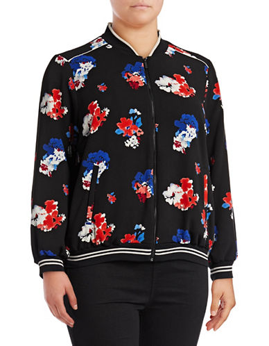 Vince Camuto Plus Travelling Bloom Bomber Jacket-BLACK-1X
