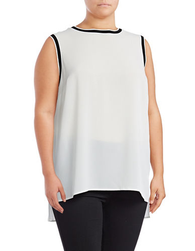 Vince Camuto Plus Hi-Lo Ribbed Trim Blouse-WHITE-3X