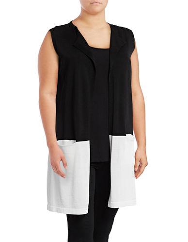 Vince Camuto Plus Plus Colourblocked Open-Front Vest-BLACK-3X
