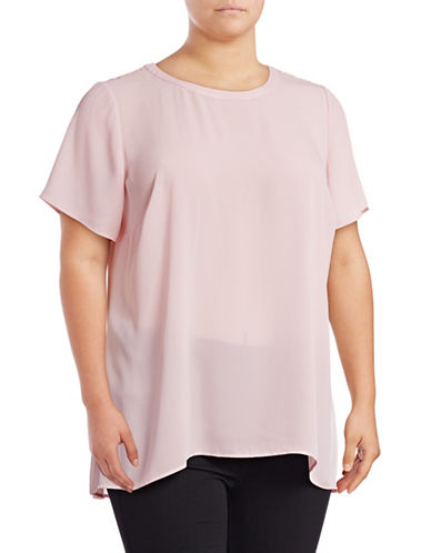 Vince Camuto Plus Hi-Lo Lace Back Blouse-PINK-2X