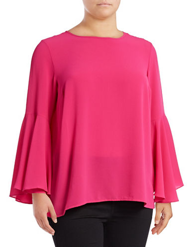 Vince Camuto Plus Plus Bell Sleeve Crepe Blouse-PINK-1X