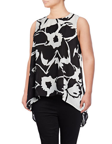 Vince Camuto Plus Plus Sleeveless Floral-Blocked Hi-Lo Top-BLACK MULTI-3X