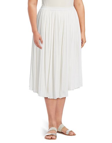 Vince Camuto Plus Pleated Rumple Skirt-WHITE-2X