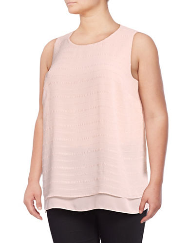 Vince Camuto Plus Plus Embroidered Stripe Layered Top-PINK-3X
