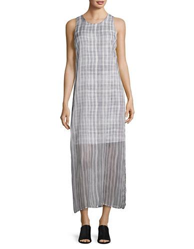 Vince Camuto Striped Sleeveless Overlay Dress-GREY-Medium