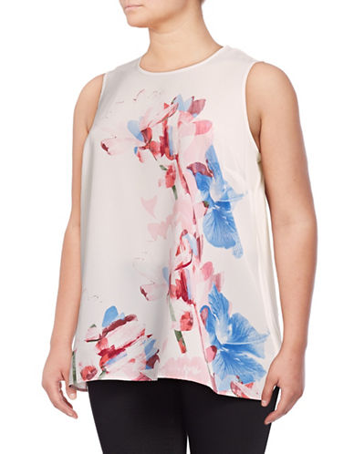 Vince Camuto Plus Plus Poetic Bouquet Mixed Media Tank Top-WHITE-2X