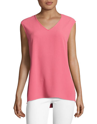 Vince Camuto Mix Media T-Shirt-PINK-X-Large 89167466_PINK_X-Large