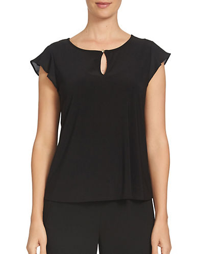 Cece Flutter Sleeve Keyhole Top-BLACK-Medium 89010111_BLACK_Medium