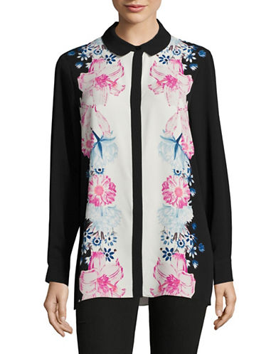 Cece Long Sleeve Floral Collared Blouse-BLACK MULTI-Medium