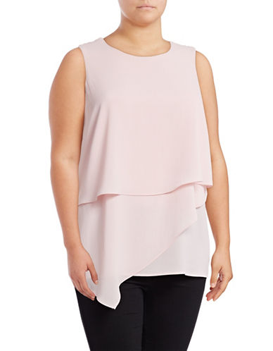 Vince Camuto Plus Plus Sleeveless Asymmetrical Layered Top-PINK-2X