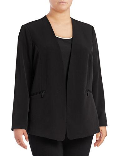 Vince Camuto Plus Zip-Pocket Blazer-BLACK-14W