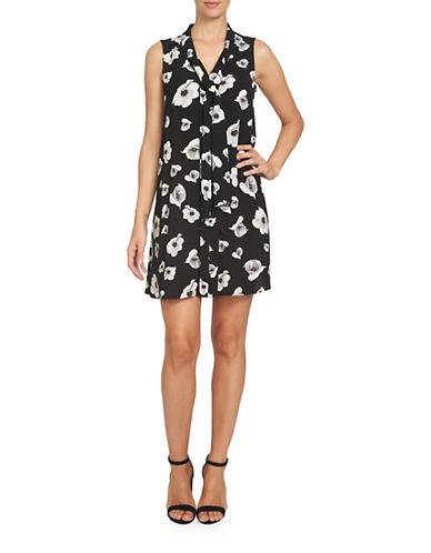 Cece Floating Flower Bells Tie-Neck Dress-BLACK MULTI-8