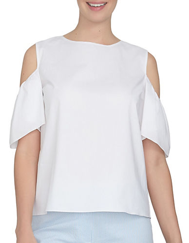 Cece Tie Back Cold-Shoulder Top-WHITE-Large