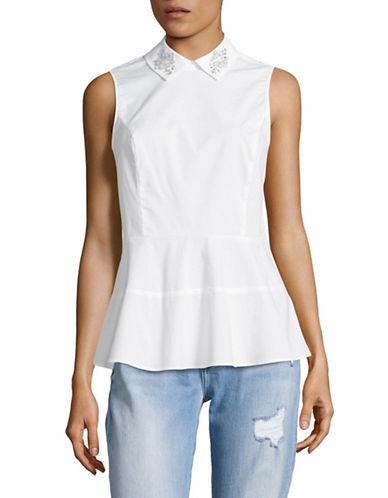 Cece Sleeveless Embellished Peplum Blouse-WHITE-Small