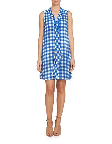 Cece Garden Check Swing Dress-BLUE MULTI-0