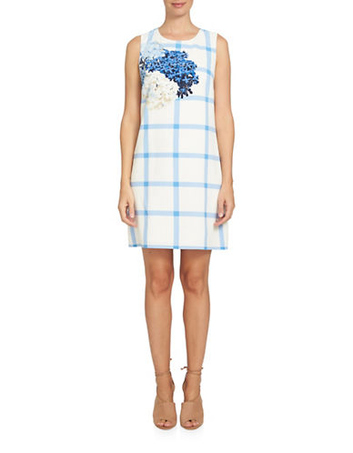 Cece Trellis Hydrangea Shift Dress-IVORY MULTI-10
