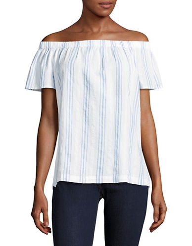 Two By Vince Camuto Off-Shoulder Stripe Seersucker Top-BLUE-Small