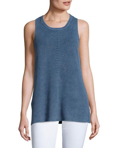 Two By Vince Camuto Petite Travelling Stitch Sweater Tank-BLUE-X-Small 89169308_BLUE_X-Small