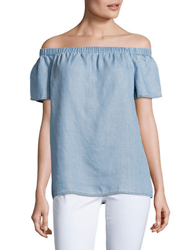 Two By Vince Camuto Off-The-Shoulder Tencel Swing Blouse-BLUE-Large