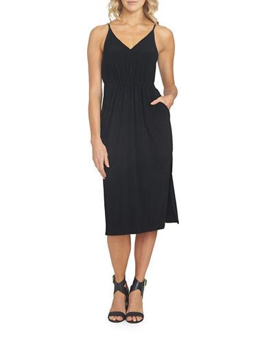 1 State Spaghetti Straps V-Neck Dress-BLACK-Small 89034237_BLACK_Small