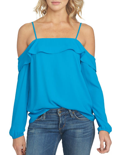 1 State Long Sleeve Cold Shoulder Blouse-BLUE-Small 89034202_BLUE_Small