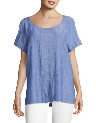 Two By Vince Camuto Woven-Stripe Cold-Shoulder Top-BLUE-Large