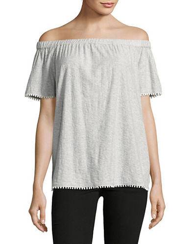Two By Vince Camuto Off-Shoulder Pom-Pom Trim Top-GREY-Small