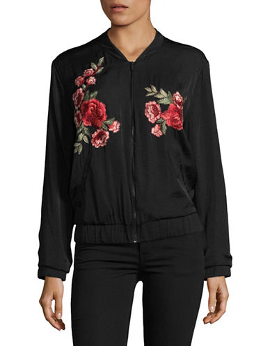 Vince Camuto Crinkle Bomber Jacket with Floral Embroidery-BLACK-Medium