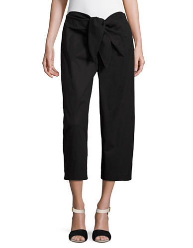 Vince Camuto Tie Front Cropped Pants-BLACK-10