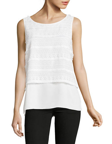 Vince Camuto Lace Overlay Shell Top-WHITE-Medium