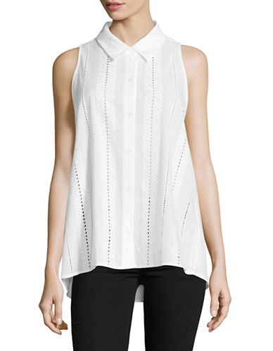 Vince Camuto Hi-Lo Trapeze Eyelet Blouse-WHITE-Small