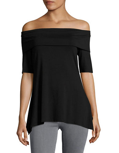 Vince Camuto Foldover Knit Top-BLACK-X-Small