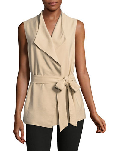 Vince Camuto Sleeveless Belted Vest-BROWN-Medium