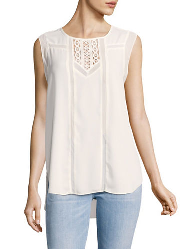Vince Camuto Front Lace Trim Sleeveless Blouse-WHITE-Medium