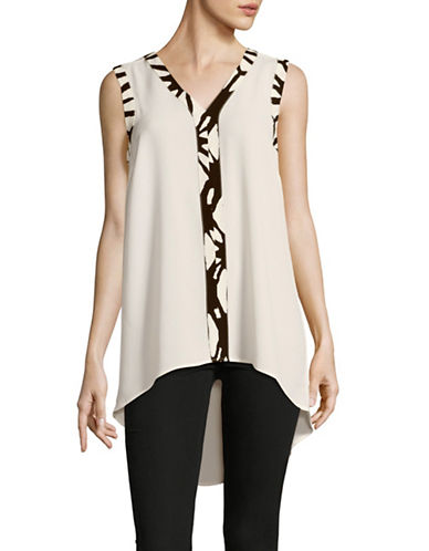 Vince Camuto Contrast Trim Hi-Lo Sleeveless Blouse-IVORY-X-Small