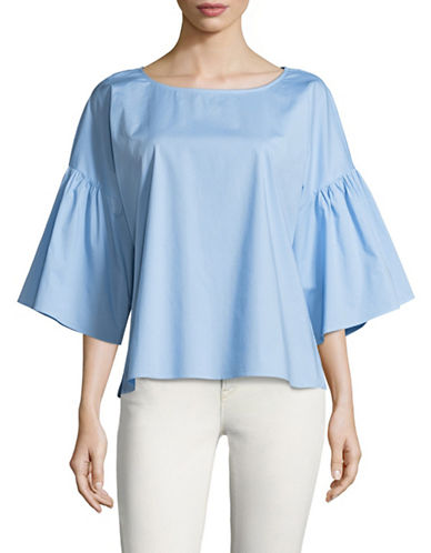 Vince Camuto Drop Shoulder Ruffle-Sleeve Blouse-BLUE-Medium