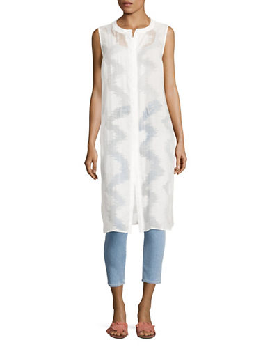 Vince Camuto Sleeveless Sheer Ikat Jacquard Tunic-WHITE-X-Small