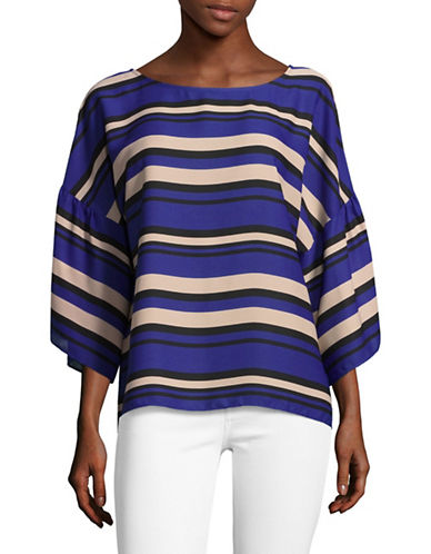 Vince Camuto Bell Sleeve Striped Blouse-BLUE MULTI-X-Small