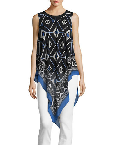 Vince Camuto Sleeveless Printed Pussybow Blouse-MULTI-X-Small