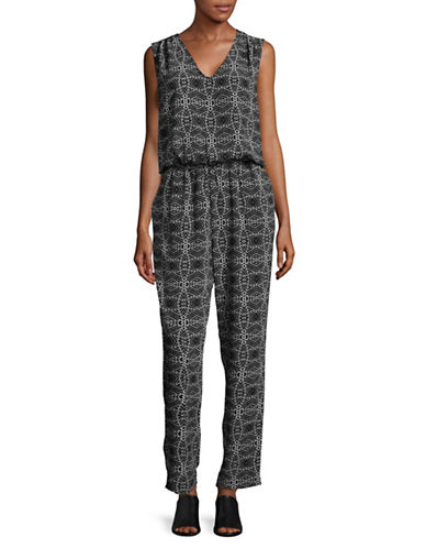 Vince Camuto Geo-Print Jumpsuit-BLACK MULTI-X-Small