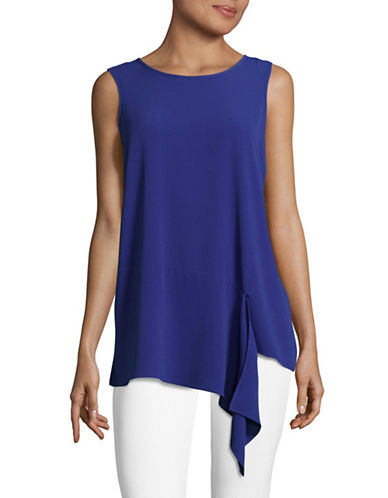 Vince Camuto Mix-Media Asymmetric Top-BLUE-X-Small