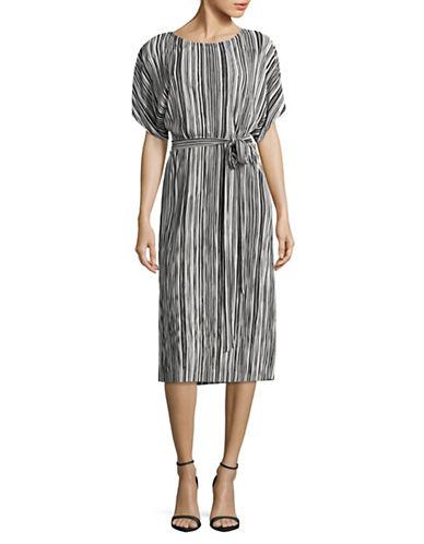 Vince Camuto Stripe Pleat Knit Belted Dress-BLACK MULTI-Large
