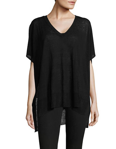 Vince Camuto Linen Blend Sweater-BLACK-Medium