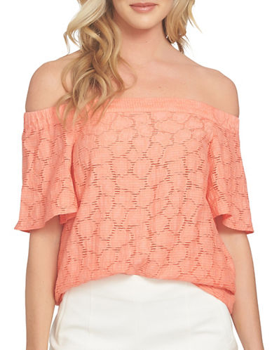 1 State Off-Shoulder Flounce Sleeve Blouse-ORANGE-Small